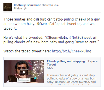 bournville tape a tweet Facebook post