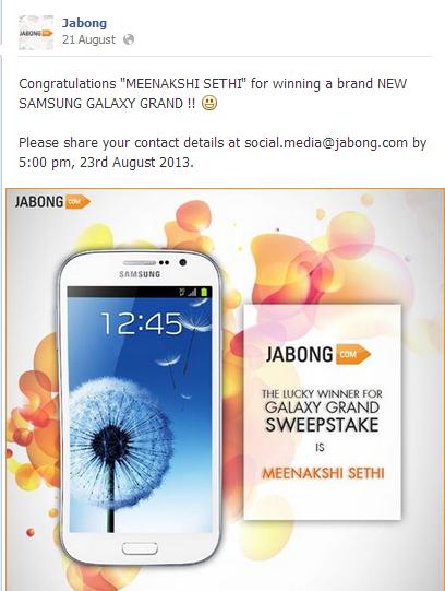 jabong contest on Facebook blooper