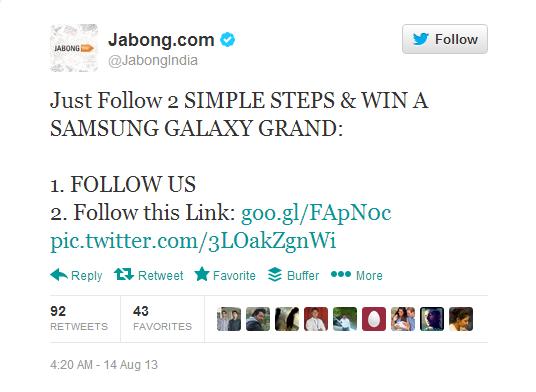 jabong quiz twitter
