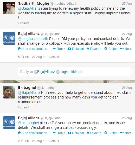 Bajaj Allianz facebook response