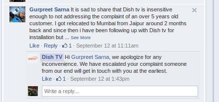 Dish TV Facebook customer support