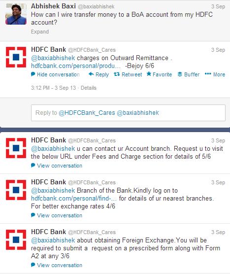 HDFC bank twitter query