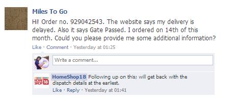 Homeshop18 facebook query
