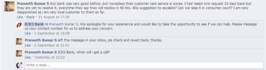 ICICI Bank facebook response