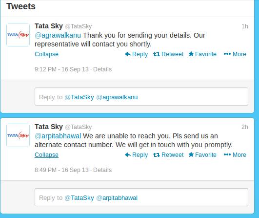 Tata sky twitter support