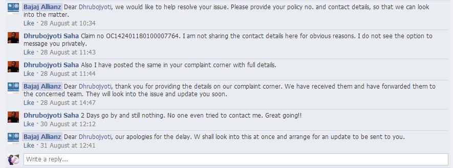 bajaj allianz facebook query