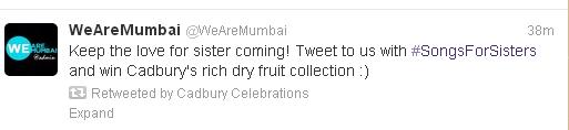 cadbury celebrations songs for sisters tweet1