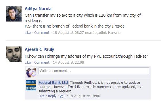 federal bank facebook query