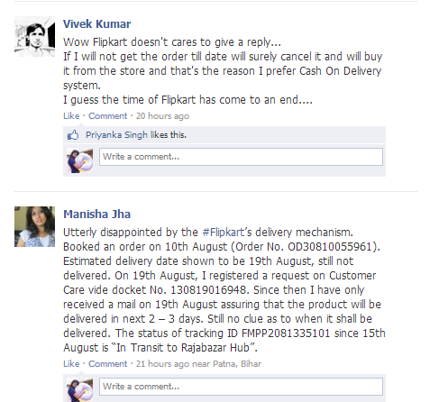 flipkart complaint on facebook