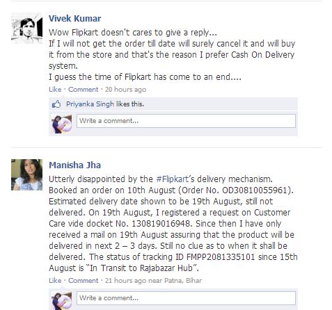 flipkart complaint on facebook