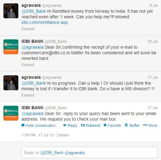 idbi bank twitter customer support