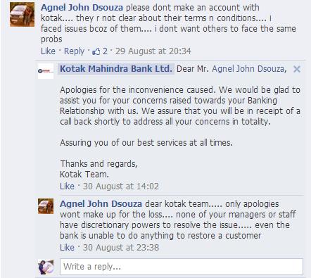 kotak mahindra bank facebook response