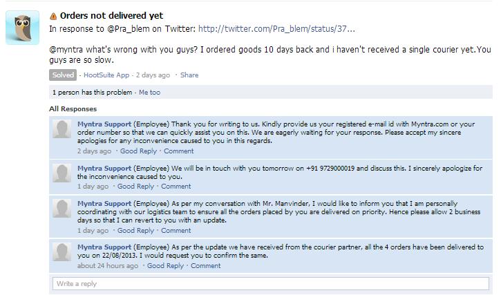 myntra.com facebook complaint