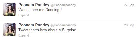 poonam pandey tweets