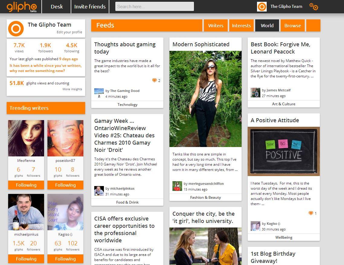 Social media platform Glipho