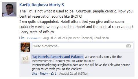 taj hotels facebook post