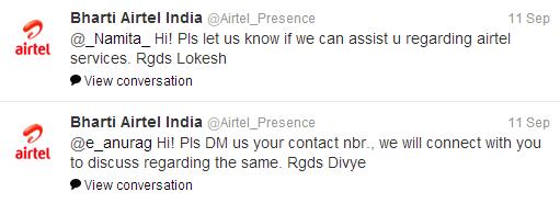 Telecom Industry Airtel Tweets