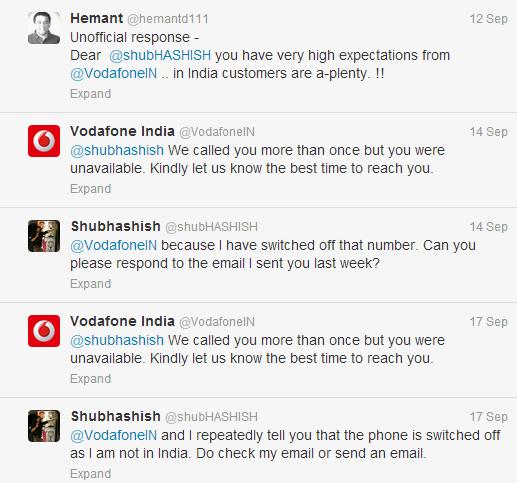 Telecom Industry Vodafone Tweets