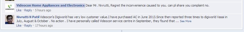 Videocon complaint