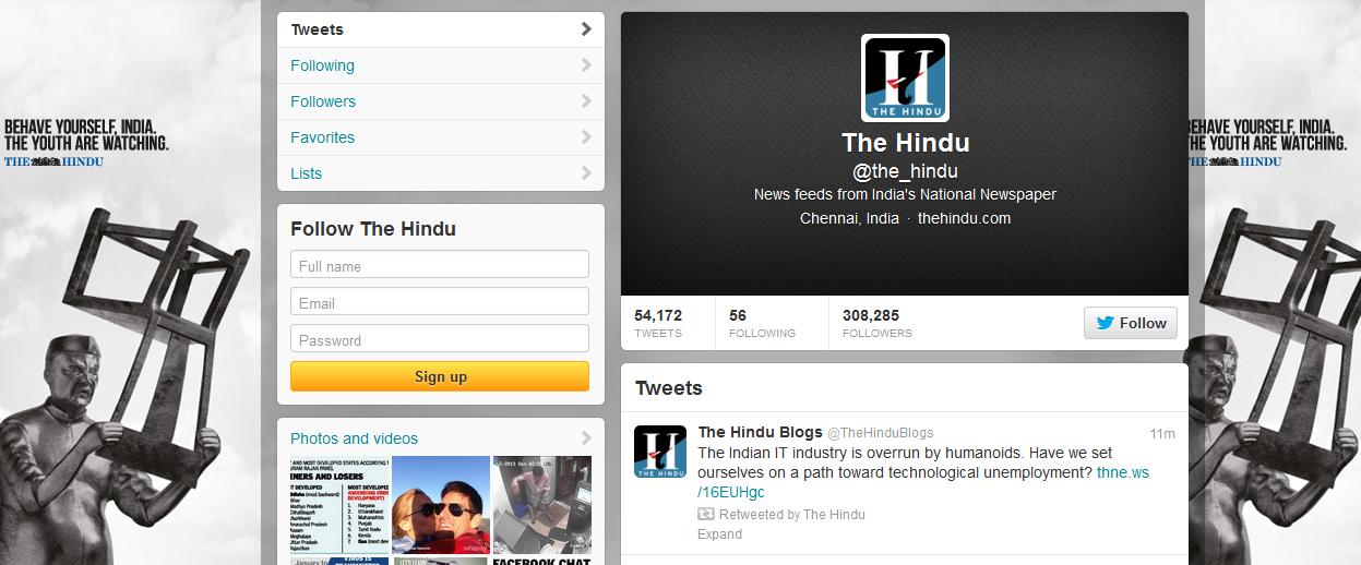 the hindu using social media