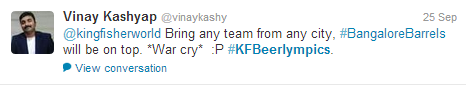 Kingfisher #Beerlympics tweet