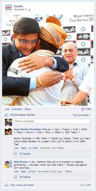 Cricinfo Sachin Tendulkar Facebook Post