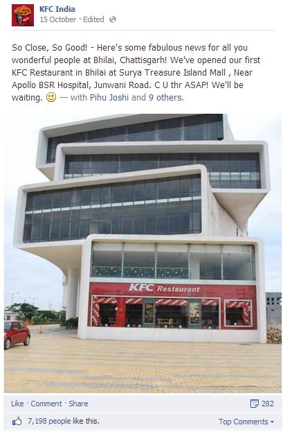 KFC new store opening update