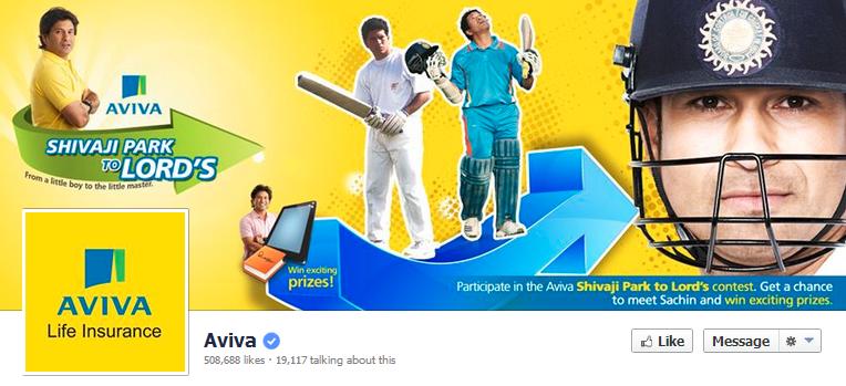 Sachin Tendulkar Aviva Facebook