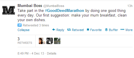 #GoodDeedMarathon Tweet