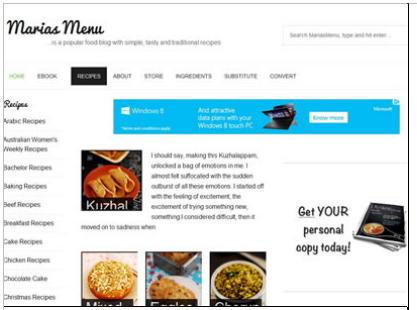Maria's menu