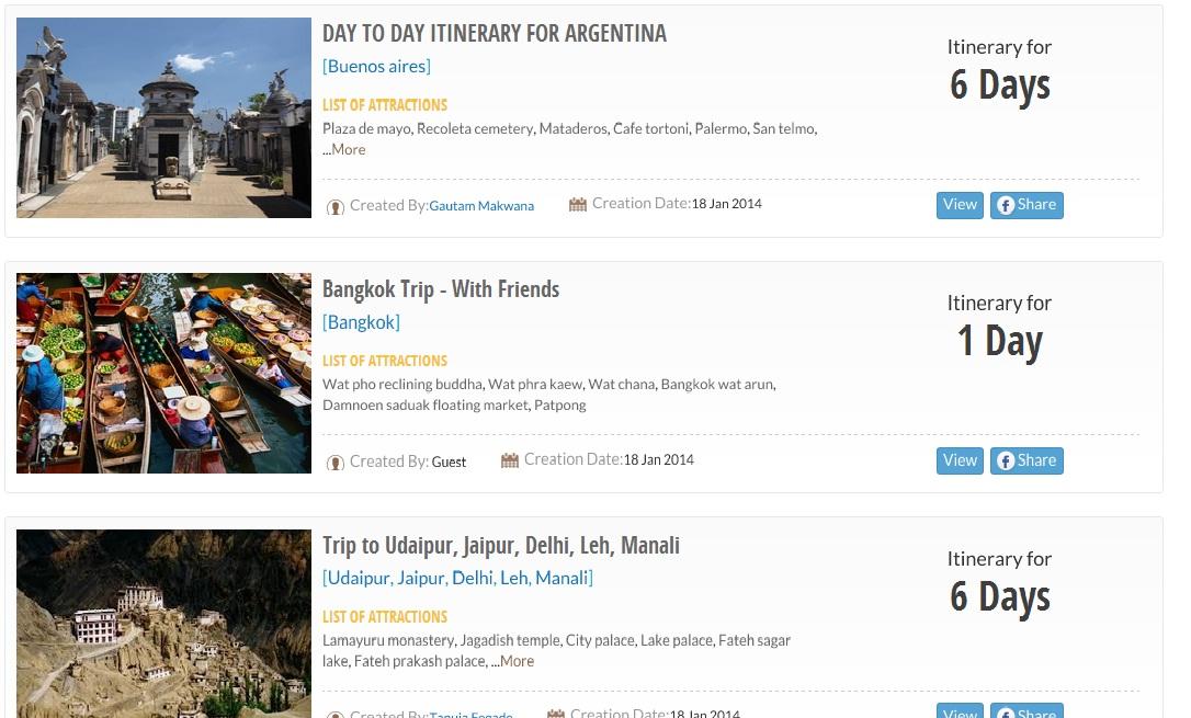 Itineray listing joguru.com