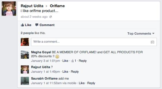 oriflame India Facebook