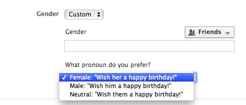 Facebook Gender LGTB