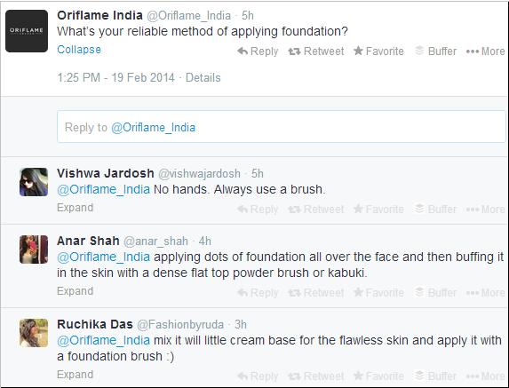 Oriflame Twitter tweet