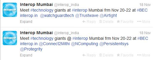 interop mumbai 2013  twitter tweets