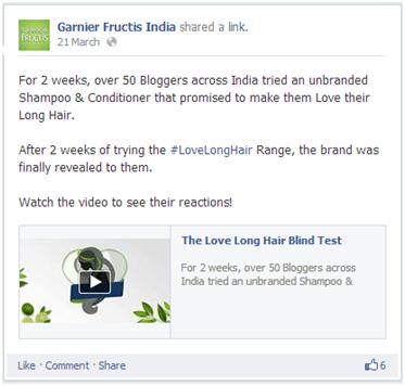 Garnier Facebook post