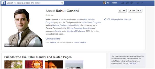 Rahul Gandhi Fan FB Page