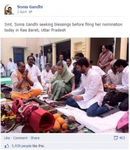 Sonia Gandhi Facebook