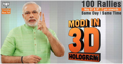 modi in 3D hologram