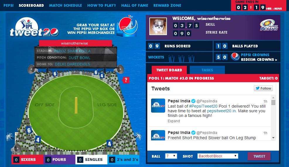 pepsi - tweet20 game