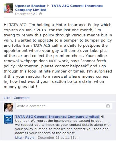 tata aig customer service