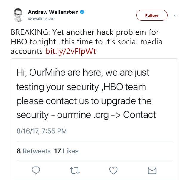 HBO's social media