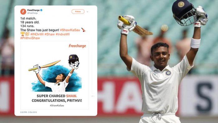 Prithvi Shaw Freecharge Swiggy