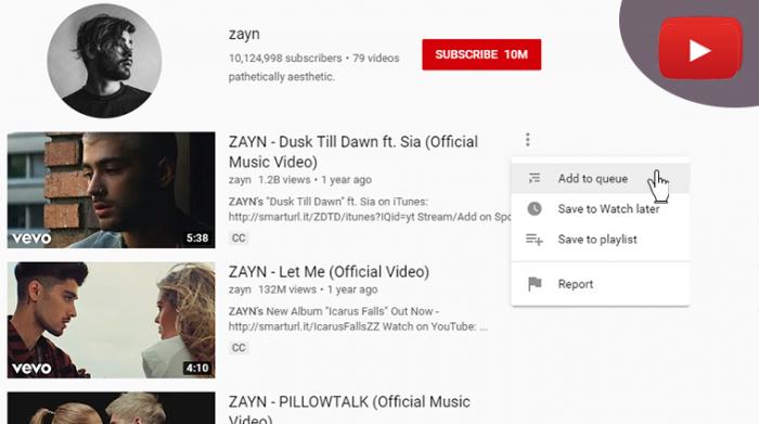 YouTube queue feature