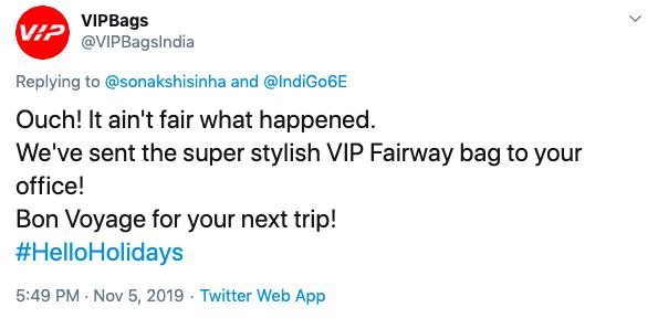 VIP Bags tweet