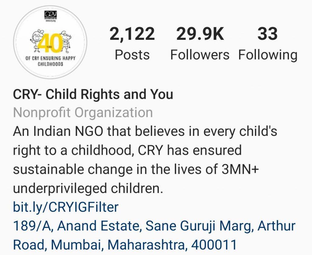 CRY India Instagram
