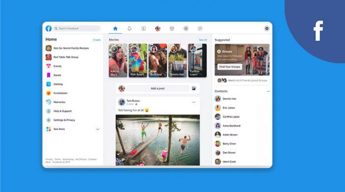 Facebook redesigned UI