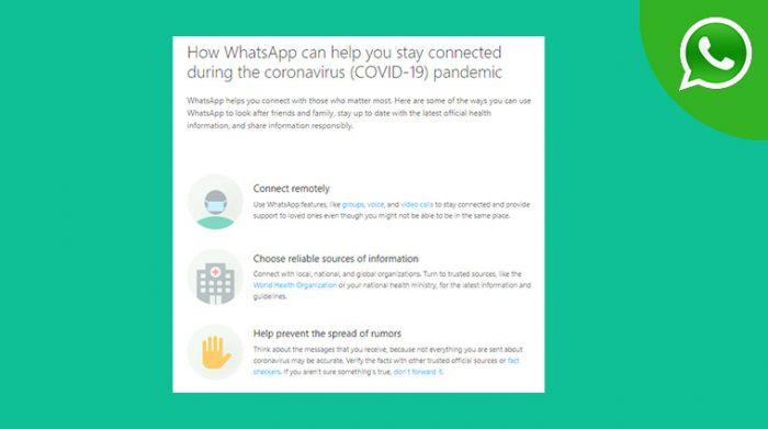 Whatsapp news Covid19 Info hub