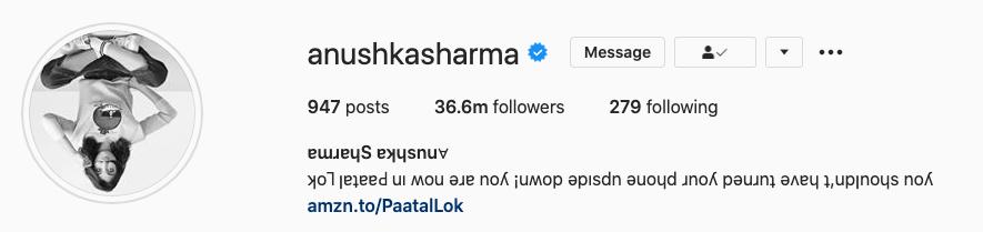 Anushka Sharma Instagram bio