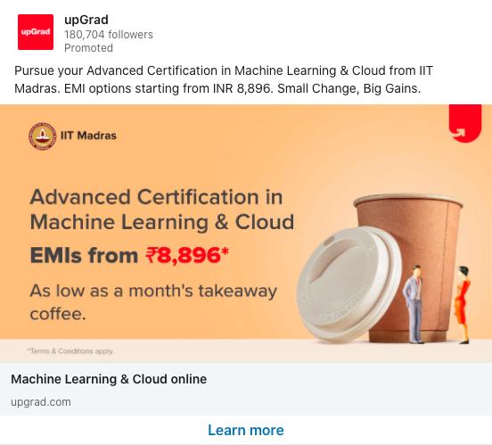 upgrad linkedin ad